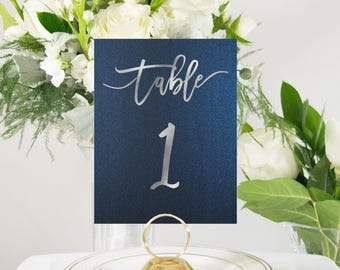 Navy Blue and Silver Foil Table Numbers Handmade Wedding, Elegant Accent, also in Gold or Rose Gold #0135