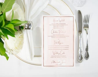 Rose Gold Foil & Blush Watercolor Food Menu / Bar Menu Handmade also available in Silver, Rose Gold, Copper