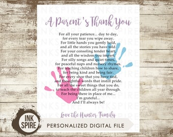Printable Personalized Daycare Appreciation Gift, Nanny Gift, Babysitter Gift, A Mother's Thank You Poem, A Parent's Thank You, DIGITAL FILE