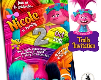 Trolls Invitation - Trolls Birthday Invitation - Trolls Birthday - Trolls Party - Trolls Printable Invitation - Trolls Party Invitation