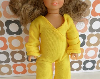 YELLOW JUMPSUIT or ONESIE for slender 7in/16cm dolls like Lottie, Mini American Girl and Garden Gals