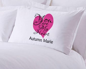 "Monogrammed You Are My Heart Pillowcase 30"" x ""20"
