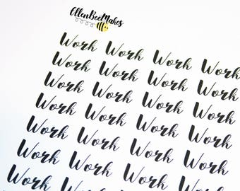 Work (Hand Lettering Effect) Stickers