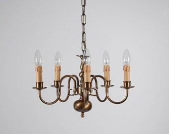 Flemish chandelier, brass, 5xE14