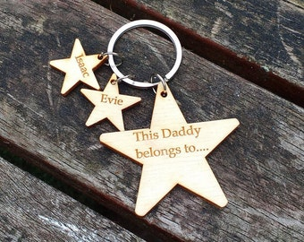 Father's Day keyring, This daddy belongs to, Father's day gift, wooden keyring,  godparent gift, grandparent gift, personalised keyring,