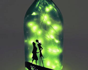 Nightmare Before Christmas Wine Bottle Lamp / Jack and Sally / Gifts for Men / Gift Ideas