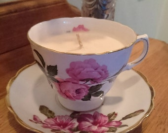Teacup Soy Candle Royal Vale England Vintage China
