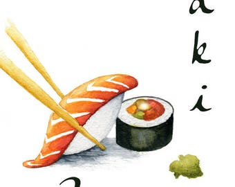 Sushi Love Print, Watercolor Sushi Picture, Maki - Love Print, Sushi Gift under 20, Sushi Wall Print, Sushi Decor, Sushi Lovers, Sushi Roll