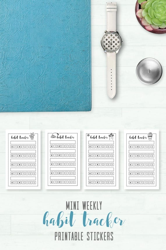 Mini Habit Tracker Weekly Printable Stickers Cricut SVG
