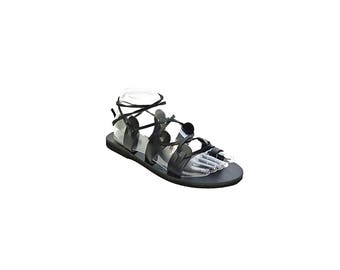 Black Gladiator Sandals, Greek Leather Sandals - Laces Up, Ancient Greek Sandals, Full Grain Leather in Black Color.