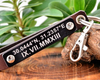 FAST SHIPPING Personalized Leather Keychain Soundwave Keychain Mens Gift Father's Day Gift  Key Fob Personalized Key Gift  Mens Leather Gift