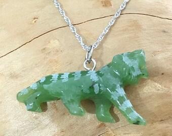 Jade tiger pendant etsy canadian nephrite jade tiger pendant green jade jade necklace mozeypictures Gallery