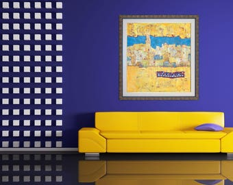 Abstract Giclée Canvas Print, Morocco in Painting, Impressionist Modern Wall Art, Yellow Landscape, Contemporary Wall Art, Luxory Interior