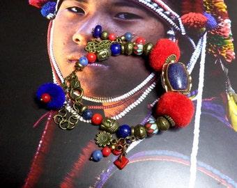 Asian/Tibetan ethnic bracelet, Tibetan craft beads, ethnic, lapis lazuli, coral, red Navy Blue Tibetan bracelet, gift