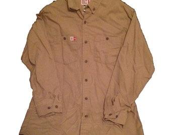 Medium Regular Big Bill Flame Resistant HRC1 Westex Vented Work Shirt 1047US5 Khaki