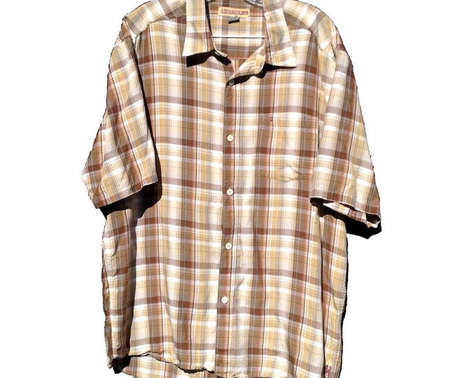 Large Quicksilver Madras Plaid Shirt