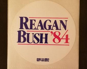 Original Ronald Reagan round bumper sticker from his 1984 campaign