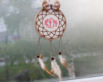 """Dream catcher, personalised dreamcatcher,car mirror hanger,housewarming gift, baby room decor,wall hanging,natural, wood beads,3 1/2"""""""