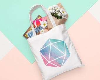 D20 Tote Bag - Watercolor | Dungeons and Dragons, D&D, Nerd, Geek, Gaming, RPG, Gamer, DnD, Girl