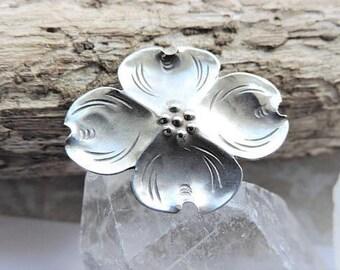 Vintage Dogwood Flower Sterling Silver Brooch