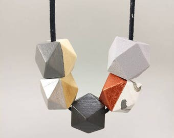 Geometric Necklace - Concrete, Copper, Silver Gray | Statement Necklace | Gift for her | Geometric Jewellery | Beaded necklace | Concrete