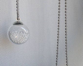 Bubble necklace of pearly white seed beads and glass