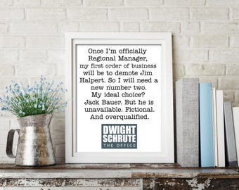 The Office printable, Dwight Schrute quote, Dwight Schrute print, office print, Dwight Schrute, Dunder Mifflin, office tv show quotes