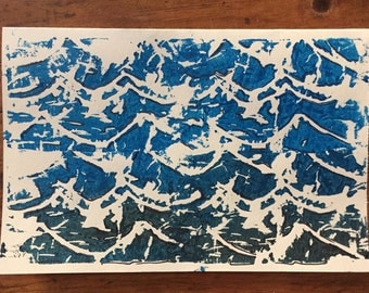 Waves Block Print Blank Card | Ocean Theme Stationary