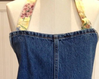 Denim full apron, women's denim apron dress, Yellow flowered trim, yellow flowered ties, dark blue upcycled denim, shabby chic, embroidered