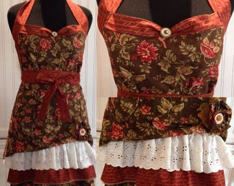 Women's ruffled full apron Thanksgiving, Flower print, brown green rust red print, hostess with mostest style, shabby chic flower pin