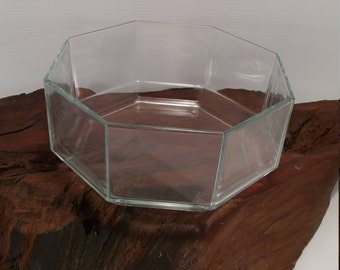 Vintage Arcoroc Octagon Geometric Design Clear Glass Bowl, Vintage Geometric Serving Bowl, Vintage Clear Arcoroc Bowl From France
