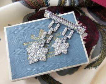 1930's Art Deco Paste Brooch - Silver Tone Chain Link Leaf Brooch - Pendant / Drop / Tassel Brooch - Vintage White Rhinestone Brooch