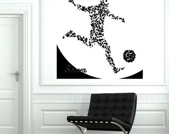 Wall Vinyl Decal Abstract Image Player of Soccer with Ball  Decor Sport Center  (#2691dn)