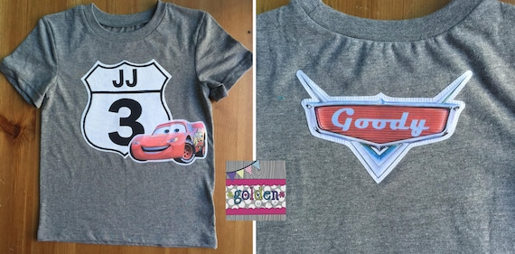 Cars Lightning McQueen Road Sign Inspired Tee, Name, Age, Cars 2, Cars 3 Tee, Shirt, Birthday Tee