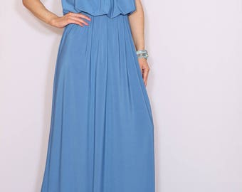 Dusty blue Bridesmaid dress Maxi dress Grecian goddess dress