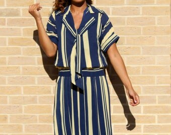 80's Vintage Tea Dress in A Blue Yellow Striped Print Vintage Dress Preppy Vintage Dress 80's Retro Dress Tall Ladies Dresses Occasion Dress