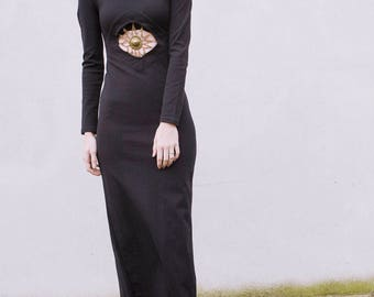Vintage 90s 1990s bodycon black maxi dress with chain detailing peace vintage prom wedding graduation