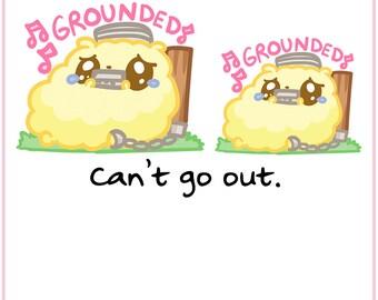 Grounded Fluffymaru || Planner Stickers, Cute Stickers for Erin Condren (ECLP), Filofax, Kikki K, Etc. || SFS55