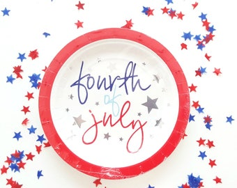 4th of july paper plates. 4th of july party decor. 4th of july party supplies. patriotic decor. 4th of july party plates. patriotic supplies