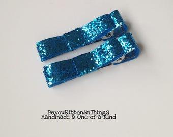 Blue Glitter   Christmas   Hair Clips for Girls   Toddler Barrette   Kids Hair Accessories   Grosgrain Ribbon   No Slip Grip   Holidays