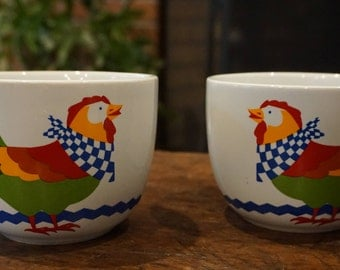 "Pair of Vintage FTD Chicken/Rooster Mugs /""Especially for You"" / 1992"