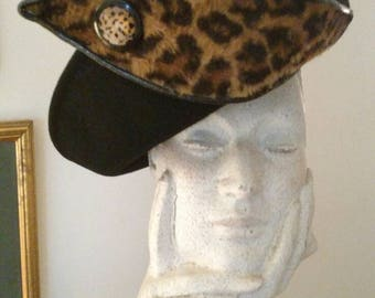 Vintage Sonni of San Francisco Black Hat with Leopard and Patent Leather Embellishment/ 1980s Upturned Brim