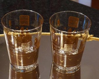 Set of 2 Vintage Western Barbecue Glasses/ Longhorn Glasses/