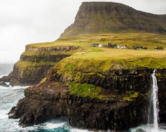 Waterfall- Faroe Islands, Home Decor/ Gift/ Travel /Print / Wall Art / Unique/ Adventure/ Wanderlust / Nature/ Digital /Fine Art/ Denmark