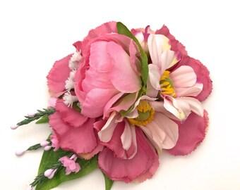 Handmade Pink Peony Bud, Carnation & Anemone Hair Flower Clip