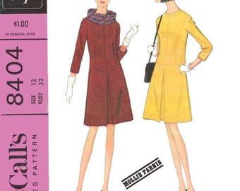 Vintage 1966 Women's Dress Sewing Pattern Designer Mollie Parnis McCall's 8404 Miss Size 10