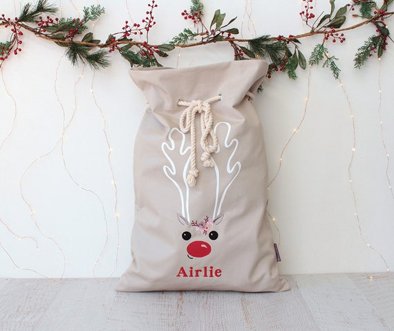 Personalised Santa Sack Stone with Reindeer face and Flowers