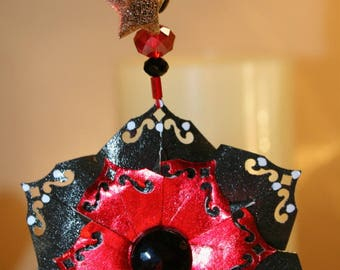 Origami Elegant Red Black Starflower Hanging Ornament