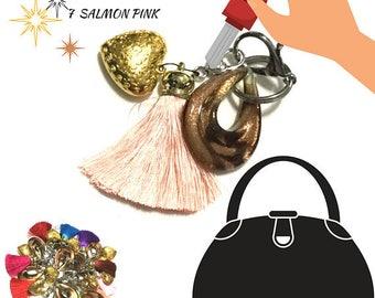 Salmon Pink Tassel Key Ring, Copper Bag Charm, Gold Heart Dangle, Variety Key Ring, On Trend Gift, Stylish Gift, Teacher Xmas Gift,