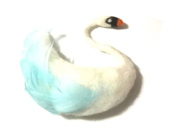 Felt Brooch, White Swan Needle Felted Brooch, Designer Brooch, Felted and Feathered Swan Brooch, Unique One of a Kind Creation.